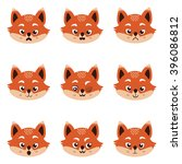set of cute  fox emoticons | Shutterstock .eps vector #396086812