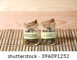 coins in jar. writing personal... | Shutterstock . vector #396091252
