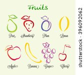 fruit icon set. lemon.... | Shutterstock .eps vector #396092062