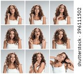 set of young woman's portraits... | Shutterstock . vector #396111502