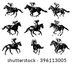 Stock vector racing horses and jockeys illustration vector 396113005