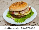 top view hamburger on the... | Shutterstock . vector #396124636
