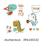 Stock vector set of cute dinosaurs vector illustration hand drawn elements for anniversary birthday party 396130132