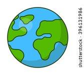 planet earth icon. flat vector... | Shutterstock .eps vector #396131986
