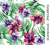 pattern with tropical flowers... | Shutterstock .eps vector #396138052