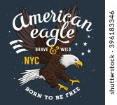 american bald eagle on a grunge ... | Shutterstock .eps vector #396183346
