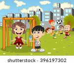 kids playing in the park... | Shutterstock .eps vector #396197302
