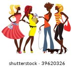 glamour lady on a walk | Shutterstock .eps vector #39620326