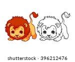 Cute Little Lion. Cartoon...