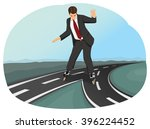 businessman in suit on roller... | Shutterstock .eps vector #396224452