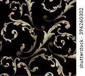 baroque pattern with gold swirls | Shutterstock .eps vector #396260302