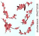 branches of pink blossoming...   Shutterstock .eps vector #396271018