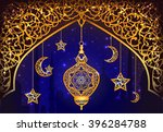 background with shiny arabic... | Shutterstock .eps vector #396284788