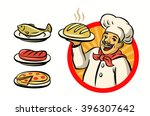 vector chef with hat and meal... | Shutterstock .eps vector #396307642