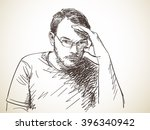 sketch of thinking man hand... | Shutterstock .eps vector #396340942
