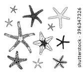 black contour starfish... | Shutterstock .eps vector #396347326