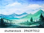 mountain watercolor landscape. | Shutterstock . vector #396397012
