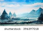 mountain watercolor landscape. | Shutterstock . vector #396397018