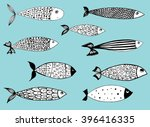 stylized fishes. aquarium fish. ... | Shutterstock .eps vector #396416335