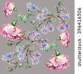 blue flower  branch pink rose ...   Shutterstock . vector #396416506