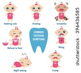 baby teething symptoms  ... | Shutterstock .eps vector #396436585