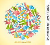 summer vacation icons in circle.... | Shutterstock .eps vector #396441802