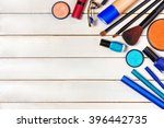 top view of make up set with... | Shutterstock . vector #396442735