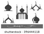 black mosque emblems set.... | Shutterstock .eps vector #396444118