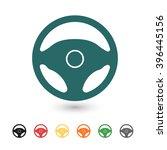 set of  blue steering wheel... | Shutterstock .eps vector #396445156