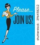 please join us retro vector... | Shutterstock .eps vector #396458212
