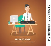 cartoon style man meditation in ... | Shutterstock .eps vector #396480856