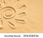 Sand Sun Print On A Beach In A...
