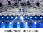 spotlights on outdoor concert... | Shutterstock . vector #396518602