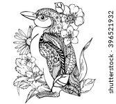hand drawn ink doodle penguin... | Shutterstock .eps vector #396521932