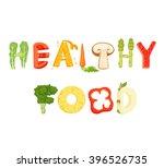 healthy food vegetables letter...   Shutterstock .eps vector #396526735