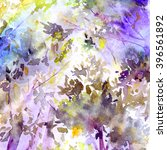 watercolor landscape. spring.... | Shutterstock . vector #396561892