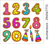 set of colored numbers. happy... | Shutterstock .eps vector #396567772