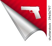 Handgun icon on vector peeled corner tab suitable for use in print, on websites, or in advertising materials. - stock vector
