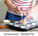 woman hand prepare healthy... | Shutterstock . vector #396584752