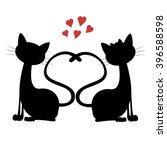 Stock vector cute cats silhouette of a cat couple in love 396588598