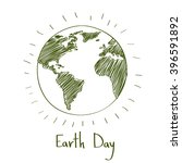 earth day green sketch globe... | Shutterstock .eps vector #396591892