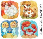 zodiac icons. set. watercolor....   Shutterstock . vector #396603112