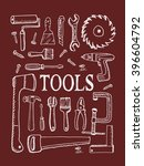 tools on red background. free... | Shutterstock .eps vector #396604792