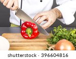 chef's hands cutting red fresh...   Shutterstock . vector #396604816