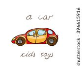 kids red retro car. toy... | Shutterstock .eps vector #396615916