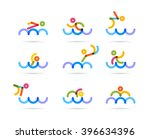 swimming colorful icons for... | Shutterstock .eps vector #396634396