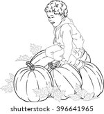 farmer boy and pumpkin icon art ... | Shutterstock .eps vector #396641965