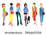 Beautiful young women in fashion clothing. Fashion women. Isolated fashion lady on white background.   Shutterstock vector #396665356