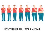 man eating fast food and... | Shutterstock .eps vector #396665425