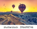 hot air balloons flying over... | Shutterstock . vector #396698746
